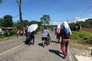 Familias centroamericanas en Tapachula, Chiapas, México.