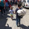 Children are among the migrants from Central America who are walking north towards the United States. Here they are pictured on the streets of Tapachula, Chiapas, Mexico. 21 October 2018.