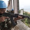 Soldiers from Pakistan serving with the UN peacekeeping mission in Liberia, UNMIL, on exercise in Monrovia in January 2013.