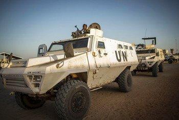 El personal de mantenimiento de la paz de las Naciones Unidas de Burkina Faso tiene su base en Ber, en el área central de Mali.