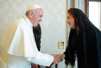 Rais wa baraza kuu la Umoja wa Mataifa Bi María Fernanda Espinosa, asubuhi hii amekutana na kiongozi mkuu wa kanisa katoliki duniani Papa Francis mjini Vatican.