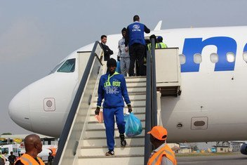 Des migrants nigérians bloqués en Libye arrivent à Lagos dans le cadre du programme de retour volontaire et de réintégration de l'OIM. (archives)
