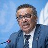 الدكتور تيدروس أدهانوم غبريسيس، المدير العام لمنظمة الصحة العالمية، يتحدث في مؤتمر صحفي بمكتب الأمم المتحدة في جنيف، قصر الأمم. (من الأرشيف).
