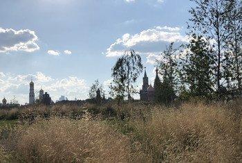 Вид на Кремль из московского парка «Зарядье»