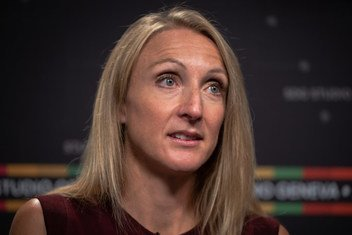 Paula Radcliffe, UN Environment Programme (UNEP) Clean Air Advocate and Ambassador, at the United Nations Office at Geneva.  31 October 2018.