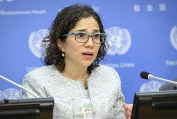 Catalina Devandas Aguilar, Relatora Especial sobre los Derechos de las Personas con Discapacidad, durante una rueda de prensa en la sede de la ONU.