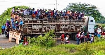 Central American migrant caravan passing by Chiapas, Mexico. 2018.