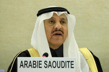 الدكتور بندر بن محمد العيبان، رئيس اللجنة السعودية لحقوق الإنسان ، ورئيس وفد بلده في الدورة الحادية والثلاثين للاستعراض الدوري الشامل في جنيف، سويسرا. 5 تشرين الثاني/نوفمبر 2018.