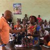 Staff members serving with the United Nations Multidimensional Integrated Stabilization Mission in the Central African Republic (MINUSCA) organizes a student awareness campaign on sexual exploitation and abuse in Bangui.  24 January 2018.