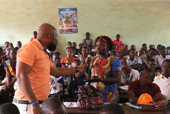 Staff members serving with the United Nations Multidimensional Integrated Stabilization Mission in the Central African Republic (MINUSCA) organized a student awareness campaign on sexual exploitation and abuse in Bangui.  24 January 2018.