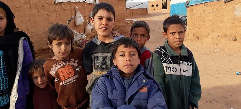 Niños en el campamento de Rukban, en Siria.