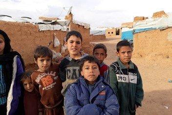 Crianças no campo de Rukban, na Síria.