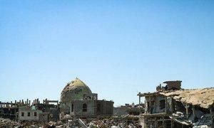 Des bâtiments détruits dans la ville de Mossoul, en Iraq, après la libération de la ville de l'emprise de Daech en 2017.