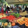 Fresh fruits and vegetables at a farmers' market in Hungary.