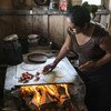 20 July 2017, San Lorenzo, Chiapas, Mexico - Emilia Felipe Jose making tortillas in her home in the village of San Lorenzo. The villlage is populated by Guatemalans who fled their country some years ago.