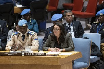 Tuesday Reitano, Deputy Director of the Global Initiative Against Transnational Organized Crime, addresses the Security Council meeting on United Nations peacekeeping operations. 6 November 2018.