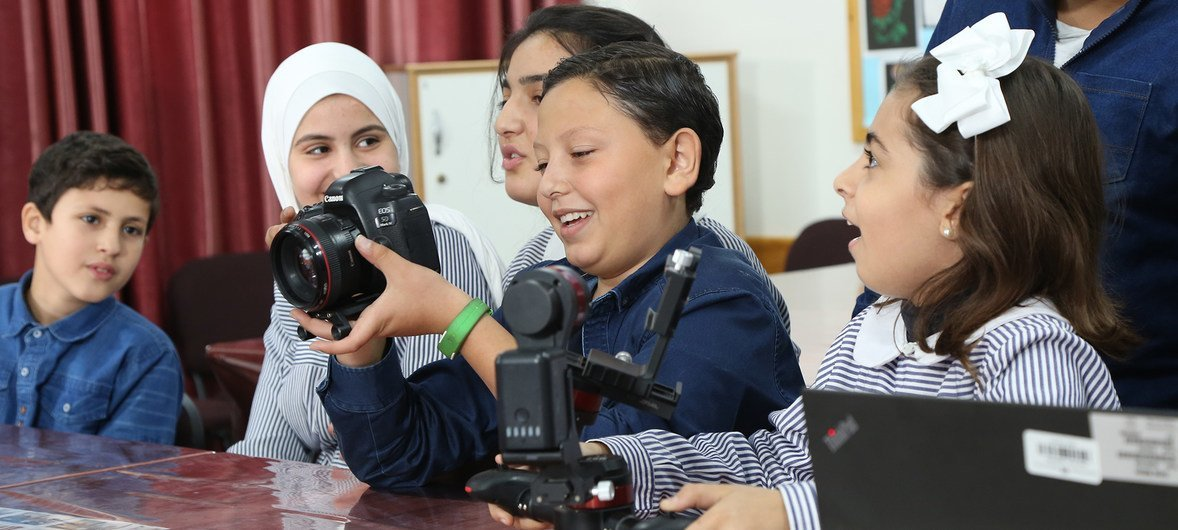 UNRWA students during an interview with UN News at Ar Rimal Preparatory Girls School A in Gaza.