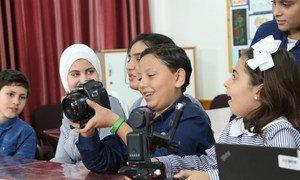 Des élèves de l'UNRWA lors d'un entretien avec ONU Info à l'école Ar Rimal à Gaza.