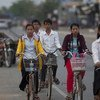 Civilians on the streets of Ang Tasom, Cambodia. (file)