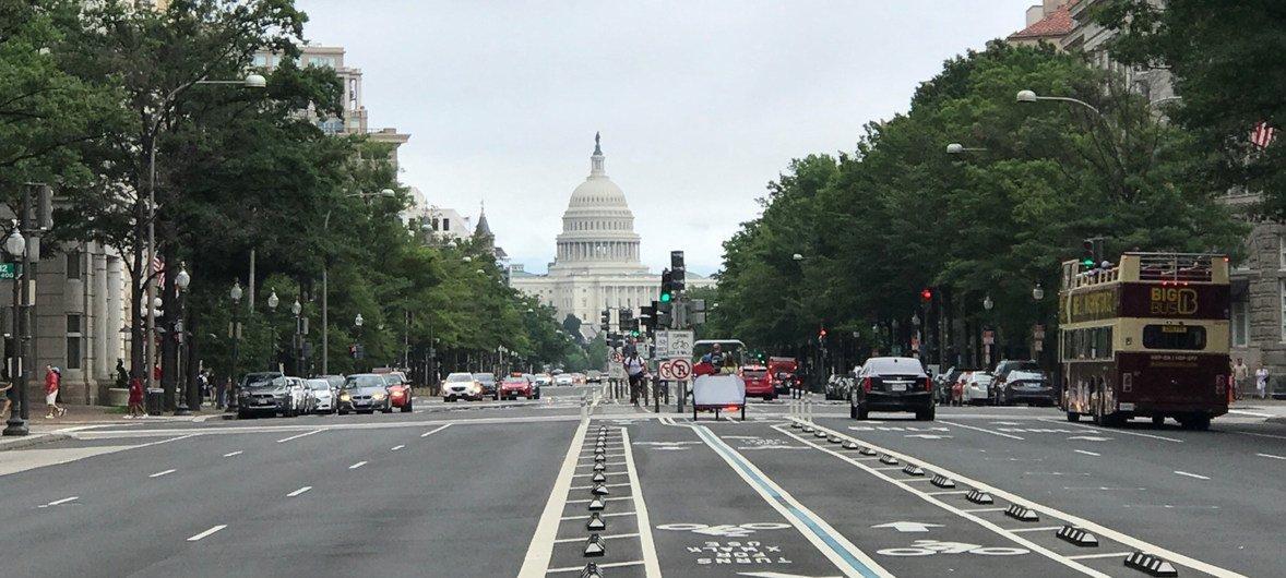 Vista del edificio del Capitolio en la ciudad estadounidense de Washington DC,