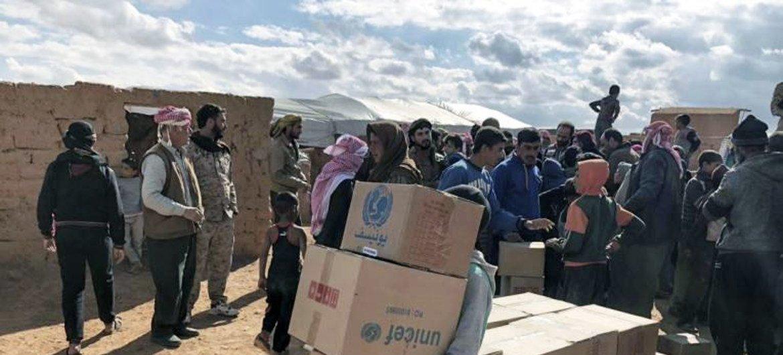 Ajuda humanitária sendo entregue na Síria