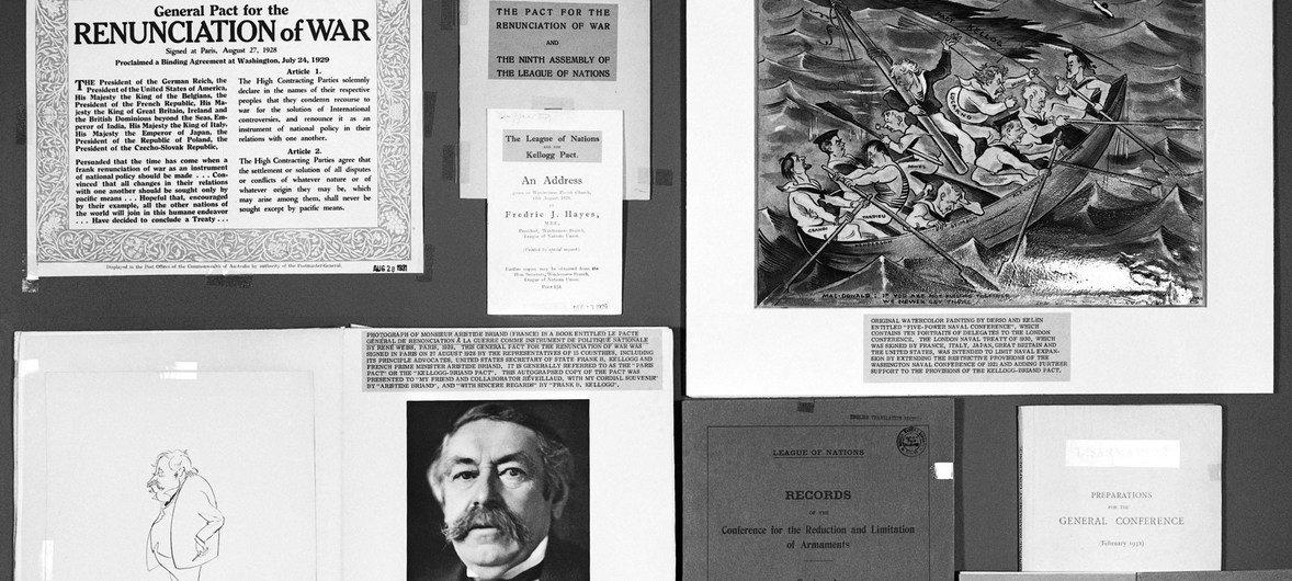 Documentos sobre la creación de la Sociedad de las Naciones.