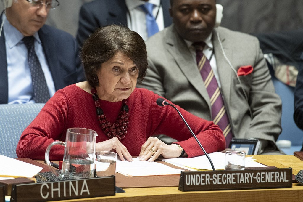 Rosemary A. DiCarlo, UN Under-Secretary-General for Political Affairs, briefs the Security Council.
