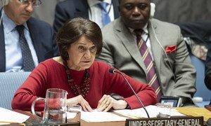 Rosemary DiCarlo, Secrétaire générale adjointe des Nations Unies aux affaires politiques, devant le Conseil de sécurité.