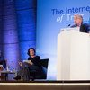 UN Secretary-General António Guterres (r) addressing the Internet Governance Forum (IGF) in Paris, France, on 12 November 2018. With him on stage are President Emmanuel Macron of France (l) and UNESCO Director-General Audrey Azoulay.