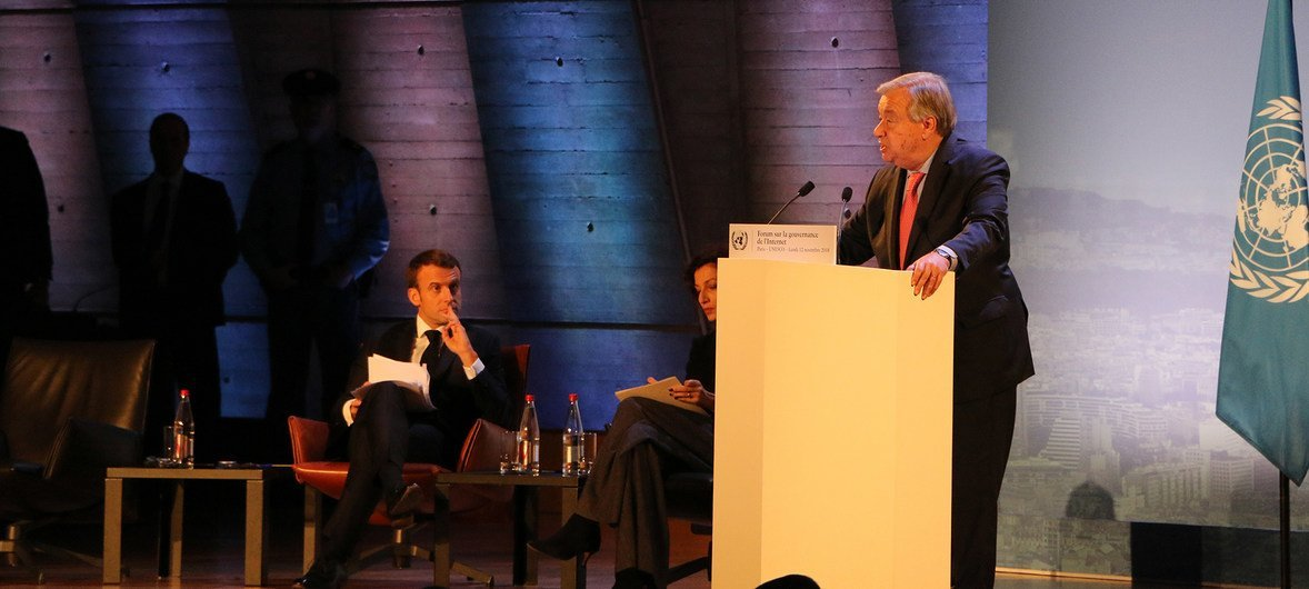 El Secretario General, António Guterres, durante su participación en el Foro para la Gobernanza de Internet