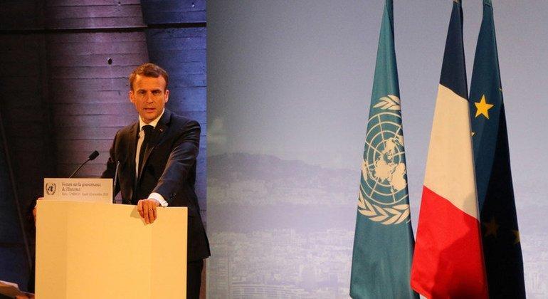 El presidente de Francia, Emmanuel Macron, se dirige al Foro de Gobernanza de Internet en París, el 12 de noviembre de 2018
