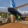 In Beni, north-eastern DRC, MONUSCO staff unload medical supplies and logistics from an aircraft, for use in the response against the Ebola outbreak in the region. Alongside the response to the disease, the country prepares to hold parliamentary elections on 23 December.