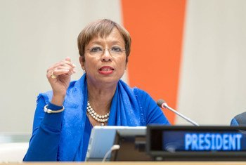 Ambassador Inga Rhonda King, 74th President of the Economic and Social Council (ECOSOC), chairs the special meeting on Pathways to resilience in climate-affected Small Island Developing States (SIDS).
