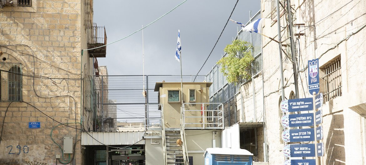Checkpoint to Qurtoba School inside the closed Israeli Military zone in H2 area in Hebron, the West Bank.
