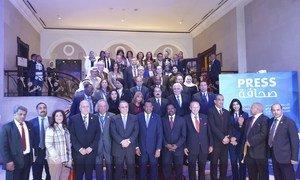 صورة جماعية للمشاركين في المؤتمر المصرفي العربي المنعقد في بيروت/لبنان.