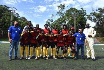O time de Angola durante a semfinal da Copa do Mundo dos Refugiados de 2018