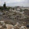 The rubble of demolished Palestinian homes in Beit Hanina, East Jerusalem overlooking Pisgat Ze'ev settlement.