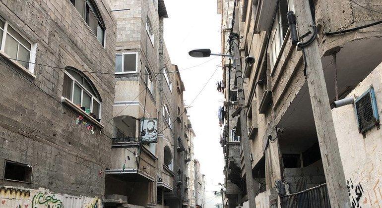 Una calle del barrio de Shuja´iyeh en Gaza