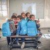 School children study inside a UNICEF tent school in Alhabanya Camp, Anbar, Iraq. Half of all schools in Iraq need rehabilitation.