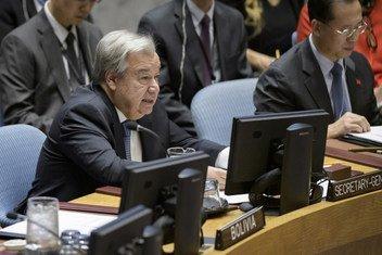 Le Secrétaire général de l'ONU, António Guterres, lors d'un débat au Conseil de sécurité.