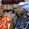 Phyllis Osei, UN Police advisor, speaks during the Women Peace Forum held in Kismaayo, Somalia on 25 July 2018. The forum was organised by the Somali National Women Association (SNWA) and supported by the United Nations Assistance Mission in Somalia (UNSOM).