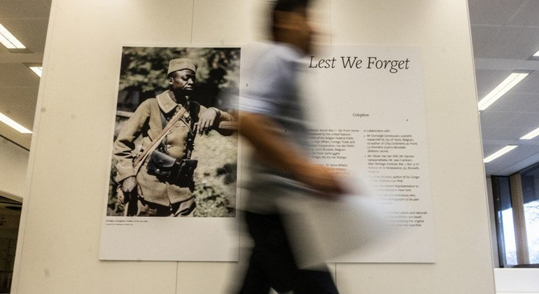 """The World War I exhibition """"Far From Home"""" at the UN in Geneva, hosted by the Permanent Mission of Belgium, highlights the participation of some 60 nationalities in the Great War from 1914-1918."""