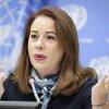Presidente da Assembleia Geral, María Fernanda Espinosa, falando a jornalistas.