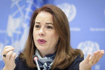 La Présidente de l'Assemblée générale des Nations Unies,María Fernanda Espinosa lors d'une conférence de presse au siège de l'ONU à New York