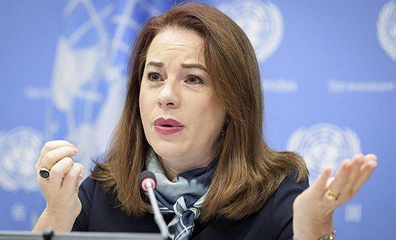 La presidenta de la Asamblea General, Maria Fernanda Espinosa, durante una conferencia de prensa en la sede de la ONU en Nueva York.