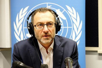 """Toby Lanzer in the UN studio where he said that 2019 would be """"make or break"""" for Afghanistan, amid nearly 40 years of violence, poverty and drought."""