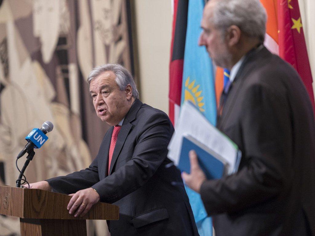 Le Secrétaire général de l'ONU, António Guterres, lors d'un point de presse au siège de l'ONU le 28 novembre 2018.