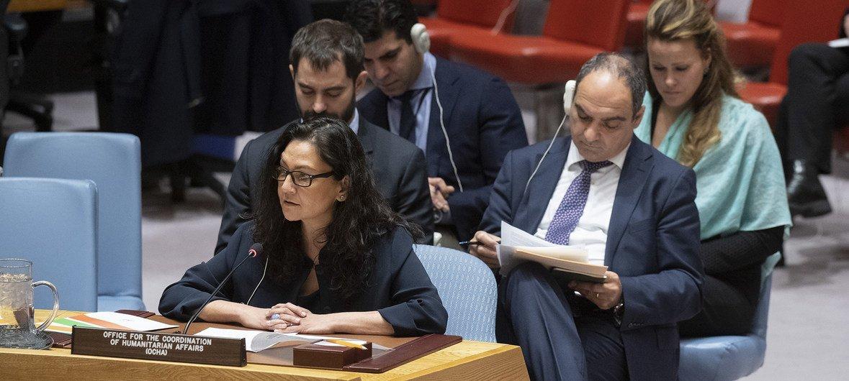 رينا غيلاني، نائبة مدير شعبة التنسيق والاستجابة التابعة لمكتب تنسيق الشؤون الإنسانية، في إحاطتها أمام مجلس الأمن. 29 نوفمبر 2018.
