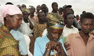 Genocide survivors at the Mwurire Genocide Site, in Rwanda. (1998)