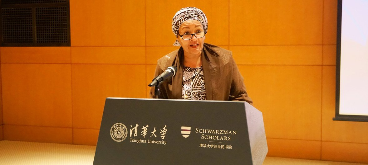 Deputy UN Secretary-General Amina Mohammed lectures on climate change at Tsinghua University in Beijing, China. (21 November 2018)